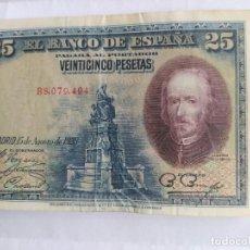 Billetes españoles: BILLETE VEINTICINCO PESETAS DE 1928 - NUMISMÁTICA. Lote 204307846