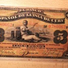 Billetes españoles: BILLETE BANCO ESPAÑOL DE LA ISLA DE CUBA, 5 PESOS, AÑO 1896. Lote 204322047