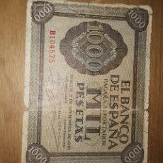 Billetes españoles: BILLETE DE 1000 PESETAS DE BURGOS 1936. Lote 204344952