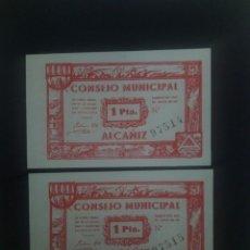 Billetes españoles: PAREJA CORRELATIVA DE 1 PTA DE 1937 CONSEJO MUNICIPAL ALCAÑIZ . GUERRA CIVIL.. ES EL DE LAS FOTOS. Lote 204395837