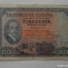 Notas espanholas: 50 PESETAS - MADRID, 17 DE MAYO DE 1927 - VER FOTOS Y DESCRIPCION. Lote 204605598