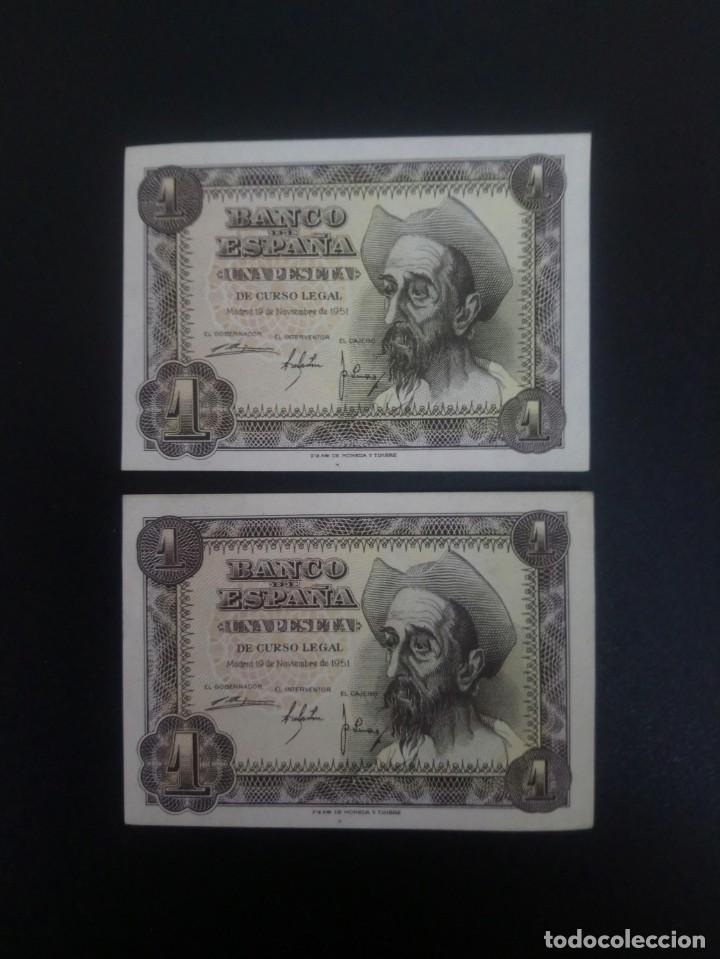PAREJA CORRELATIVA DE 1 PTA DE 1951.. PRECIOSOS .. .. ES EL DE LAS FOTOS (Numismática - Notafilia - Billetes Españoles)