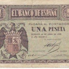 Billetes españoles: BILLETE DE BURGOS DE 1 PESETA DEL 30 DE ABRIL DEL AÑO 1938 SERIE D. Lote 204758872