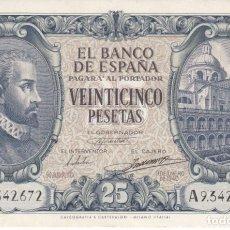 Billetes españoles: BILLETE DE 25 PESETAS DEL AÑO 1940 SERIE A CALIDAD EBC JUAN DE HERRERA (RARO). Lote 204800827