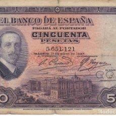 Banconote spagnole: BILLETE DE 50 PESETAS DEL AÑO 1927 DE ALFONSO XIII SIN RESELLO DE LA REPUBLICA ESPAÑOLA (RARO). Lote 204807948