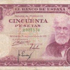 Billetes españoles: BILLETE DE 50 PESETAS DEL AÑO 1951 DE SANTIAGO RUSIÑOL SIN SERIE. Lote 204812161