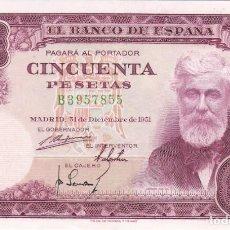 Billetes españoles: BILLETE DE 50 PESETAS DEL AÑO 1951 DE SANTIAGO RUSIÑOL SERIE B EN CALIDAD EBC. Lote 204812332