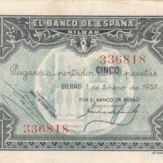 Billetes españoles: BILLETE: 5 PESETAS BANCO DE ESPAÑA EN BILBAO 1937 - BV / 336818. Lote 205007005