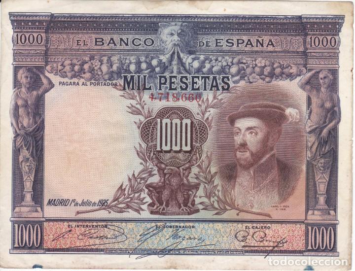 BILLETE DE ESPAÑA DE 1000 PESETAS DEL AÑO 1925 DEL REY CARLOS I (Numismática - Notafilia - Billetes Españoles)