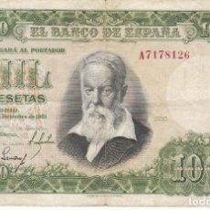 Billetes españoles: BILLETE DE 1000 PESETAS DEL AÑO 1951 DE JOAQUIN SOROLLA SERIE A. Lote 205035671