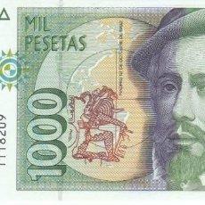 Billetes españoles: BILLETE DE 1000 PESETAS DEL AÑO 1992 DE HERNAN CORTES SIN SERIE SIN CIRCULAR (SC). Lote 205038695