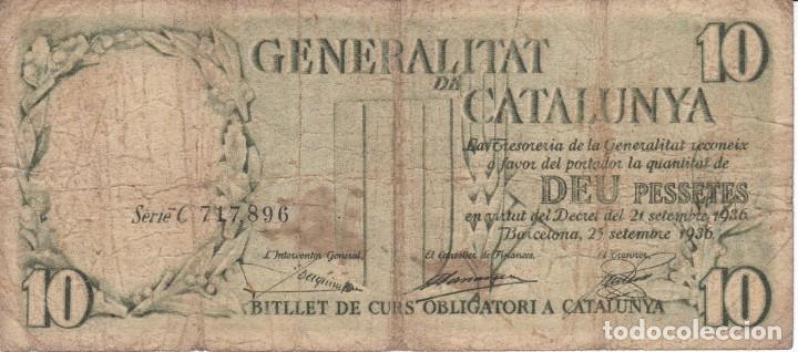 BILLETE DE 10 PESETAS DE LA GENERALITAT DE CATALUNYA DEL AÑO 1936 SERIE C (Numismática - Notafilia - Billetes Españoles)