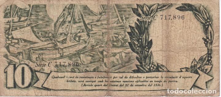 Billetes españoles: BILLETE DE 10 PESETAS DE LA GENERALITAT DE CATALUNYA DEL AÑO 1936 SERIE C - Foto 2 - 205160905