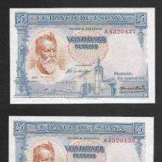 Billetes españoles: PAREJA CORRELATIVA 25 PESETAS 1936 SERIE A S/C. Lote 205269076