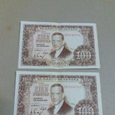 Billetes españoles: DOS BILLETES CORRELATIVOS DE 100 PESETAS AÑO 1953. Lote 205324688
