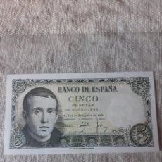 Billetes españoles: SÍN CIRCULAR 1E9536618 5 PESETAS 10 AGOSTO 1951 BANCO ESPAÑA MADRID. Lote 205592801