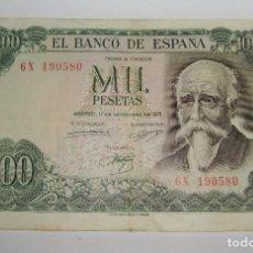 Billetes españoles: 1000 PESETAS. 1971. JOSÉ ECHEGARAY. SERIE 6X. Lote 206208930