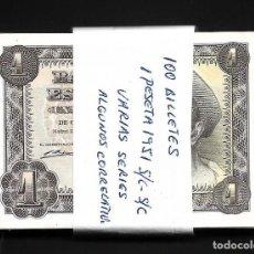 Billetes españoles: 100 BILLETES 1 PESETA 1951 VARIAS SERIES S/C/S/C-. Lote 206371011