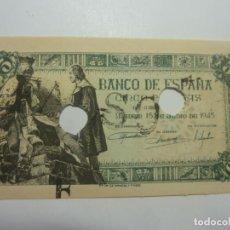 Billetes españoles: BILLETE DE ESPAÑA 5 PTAS 1945 FALSO DE EPOCA TALADRADO. Lote 206750956