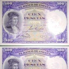 Billetes españoles: PAREJA CORRELATIVA DE 100 PESETAS DE 1931, SIN CIRCULAR/PLANCHA. Lote 206775866