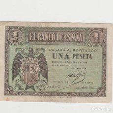 Billetes españoles: 1 PESETA- BURGOS- 30 DE ABRIL DE 1938-SERIE L. Lote 206999178
