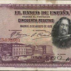 Billetes españoles: ESPAÑA - SPAIN - 50 PESETAS - 1928 - PICK 75 - VELAZQUEZ. Lote 207008143