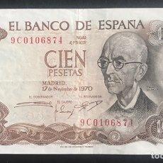 Billetes españoles: CMC 100 PESETAS 17 NOVIEMBRE 1970 FALLA SERIE SUSTITUCION 9C BC. Lote 207008155
