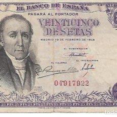 Billetes españoles: BILLETE DE 25 PESETAS DE 19 DE FEBRERO DE 1946. SIN SERIE. ESTADO MB. Lote 207112545