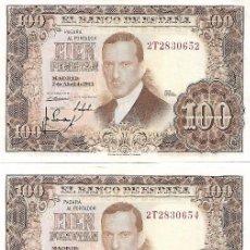 "Billetes españoles: ESPAÑA - TRES BILLETES DE 100 PESETAS DE 7 DE ABRIL DE 1953. CONSERVACIÓN: ""EBC"",""EBC"",""BC"". Lote 207116686"