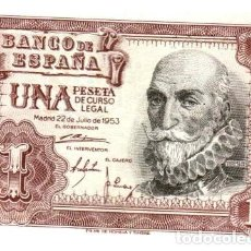 Billetes españoles: BILLETE DE ESPAÑA DE 1 PESETA DE 1953 CIRCULADO MANCHADO. Lote 207123772