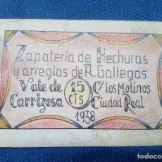 Billetes españoles: BILLETE LOCAL ZAPATERIA DE HECHURAS Y ARREGLOS DE R. GALLEGOS VALLDE DE CARRIZOSA 1938.. Lote 207231148