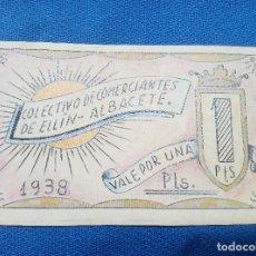 Billetes españoles: BILLETE LOCAL COLECTIVO DE COMERCIANTES DE HELLIN ( ALBACETE ) 1938 VALE POR 1 PTS.. Lote 207231282