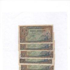 Billetes españoles: 5 BILLETES DE 5 PTAS-1940- ALCAZAR DE TOLEDO- MUY BUENA CALIDAD -EDIFIL 443A. Lote 207234263
