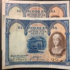 Billetes españoles: PAREJA CORRELATIVA DE 500 PTS DE 1927. Lote 207247631