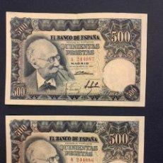 Billetes españoles: 500 PTS DE 1951 EN PAREJA CORRELATIVA. Lote 207248020
