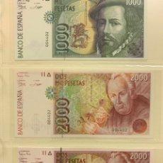 Billetes españoles: 10000, 5000, 2000, 2000 Y 1000 DEL 1992 ((( MISMA NUMERACION Y NUEVOS ))). Lote 207248361