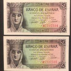 Billetes españoles: CMC 5 PESETAS 13 FEBRERO 1943 ISABEL LA CATOLICA PAREJA CORRELATIVA SERIE H SC. Lote 207324503
