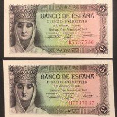 Billetes españoles: CMC 5 PESETAS 13 FEBRERO 1943 ISABEL LA CATOLICA PAREJA CORRELATIVA SERIE H SC. Lote 207324611