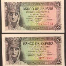 Billetes españoles: CMC 5 PESETAS 13 FEBRERO 1943 ISABEL LA CATOLICA PAREJA CORRELATIVA SERIE H SC. Lote 207324836