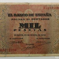 Billetes españoles: BILLETE 1000 PESETAS BURGOS 1938 SERIE A. Lote 207356911