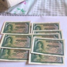 Billetes españoles: LOTE DE 10 BILLETES 5 PESETAS, SERIE G, NO CÍRCULO, CORRELATIVOS, PLANCHA. Lote 207371901
