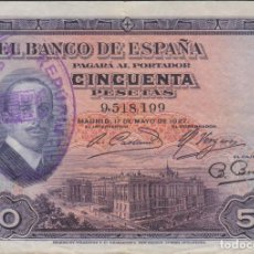 Billetes españoles: BILLETES ESPAÑOLES - ALFONSO XIII- 50 PESETAS 1927 - SIN SERIE (MBC). Lote 207532581