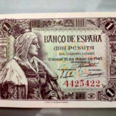 Billetes españoles: BILLETE 1 PESETA 1945 SIN SERIE EBC+ ISABEL LA CATÓLICA. Lote 207744965