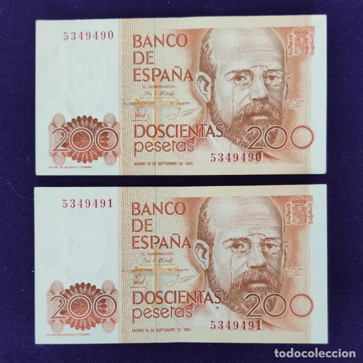 2 BILLETES DE 200 PESETAS CORRELATIVOS. 1980. SIN SERIE. ORIGINALES. (Numismática - Notafilia - Billetes Españoles)