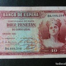 Notas espanholas: BC+ - SERIE B - BILLETE DE 10 PESETAS DE 1935 - CERTIFICADO DE PLATA. Lote 207995026