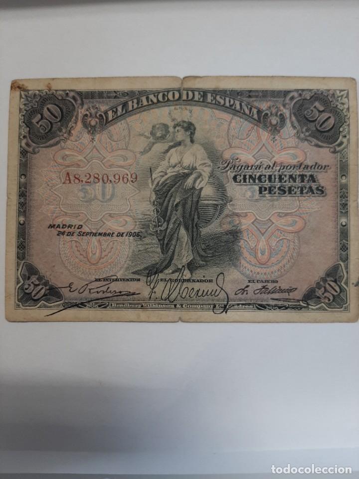 PRECIOSO 50 PESETAS 1906 ALFONSO XIII SERIE A (Numismática - Notafilia - Billetes Españoles)