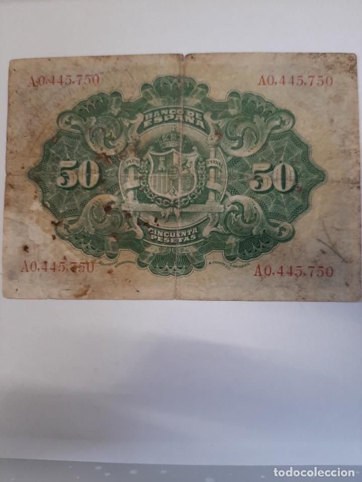 Billetes españoles: 50 pesetas 1906 Alfonso XIII Serie A numeración baja - Foto 2 - 208296377