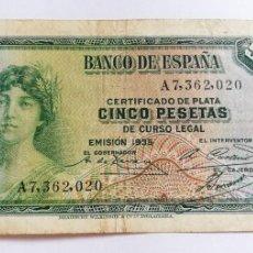 Billetes españoles: BILLETE 5 PESETAS EMISIÓN 1935. Lote 208341455