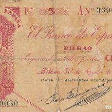 Billetes españoles: PAGARE 5 PESETAS BANCO DE ESPAÑA - BILBAO / 30 AGOSTO 1936 - CAJA DE AHORROS VIZCAINA. Lote 208478128