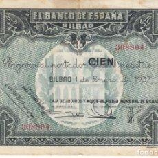 Billetes españoles: BILLETE: 100 PESETAS BANCO DE ESPAÑA - BILBAO / 1 ENERO 1937 - CAMPMB / 308804. Lote 208573578